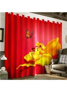 Golden Peony with Butterfly Printed Thick Polyester 2 Panels Living Room Curtain