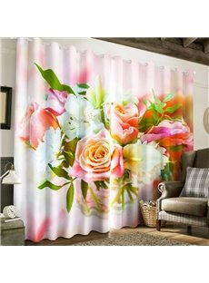 Fresh Roses Printed 2 Panels Custom 3D Curtain for Living Room