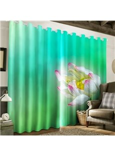 3D Blooming Lotus Printed Pastoral Style 2 Panels Living Room Window Drape