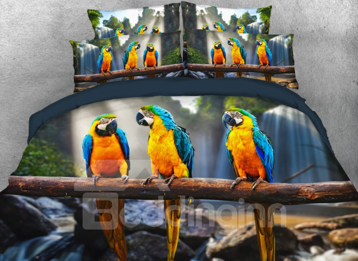 Onlwe 3D Three Blue and Yellow Macaws Printed 4-Piece Bedding Sets/Duvet Cover beddinginn