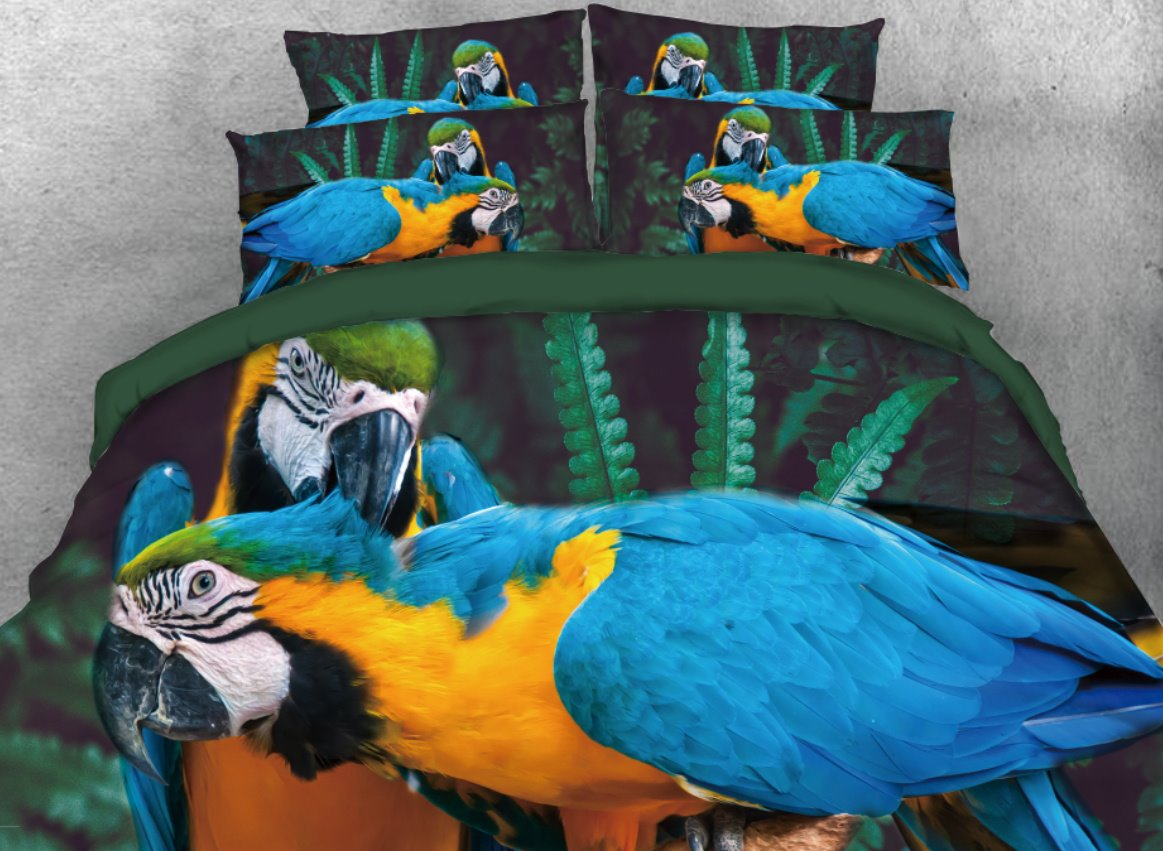 Onlwe 3D Blue and Yellow Macaw Printed 4-Piece Bedding Sets/Duvet Cover beddinginn