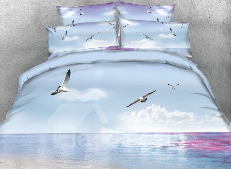 Vivilinen 3D Seagulls Flying over Ocean Printed 4-Piece Bedding Sets/Duvet Cover