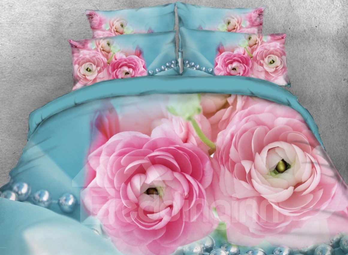 Pink Rose Flowers Printed 4-Piece 3D Bedding Sets/Duvet Cover