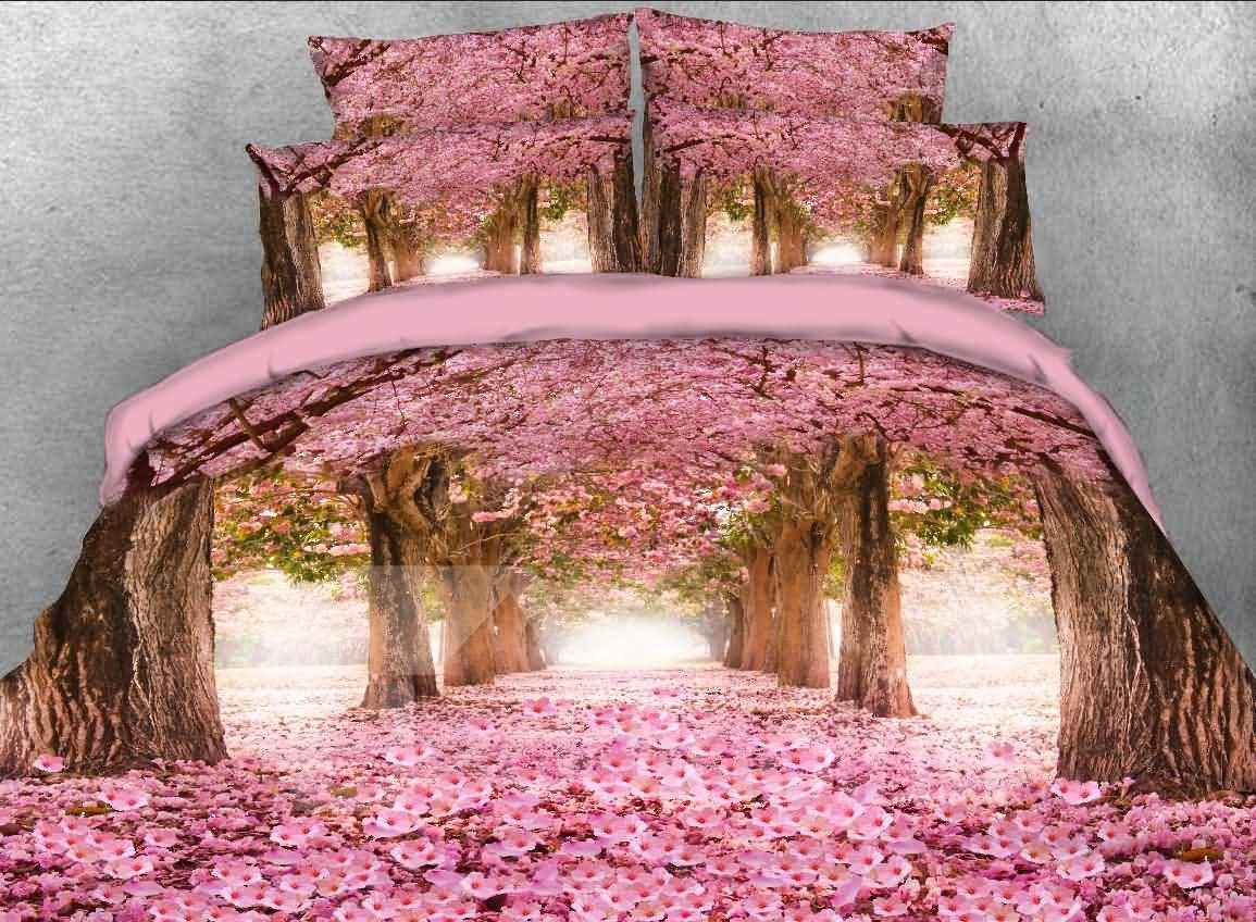 3d Pink Blossoming Tree Alley Printed 5 Piece Comforter Sets Pic