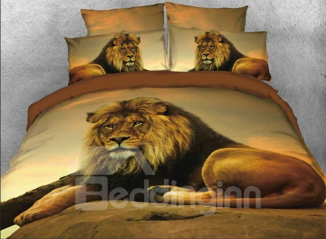 3d Lion Relaxing Rock African Safari 5 Piece Comforter Sets Pic