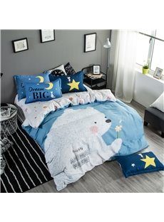 White Big Bear with Small Flower Printed Cotton Blue 4-Piece Bedding Sets/Duvet Cover
