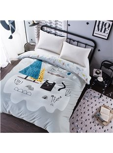 Cat and Plant Printed Cotton Light Grey 4-Piece Bedding Sets/Duvet Cover