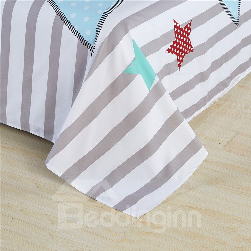 Big Star with Stipes Printed Cotton Light Blue 4-Piece Bedding Sets/Duvet Cover