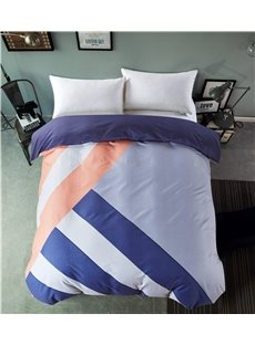Random Stripes Printed Cotton Dark Blue 4-Piece Bedding Sets/Duvet Cover