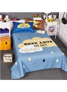 Clouds and Raindrops Printed Free Style Cotton Blue 4-Piece Bedding Sets/Duvet Cover