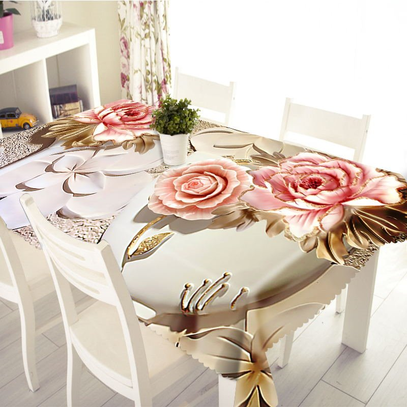 3D Vivid Engraving Flowers Printed Thick Polyester Table Cover Cloth