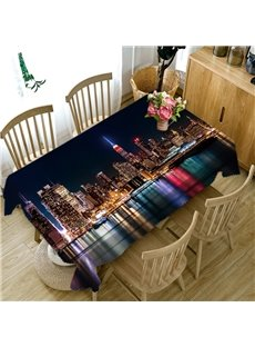 3D Prosperous City Night View Printed Thick Polyester Table Cover Cloth