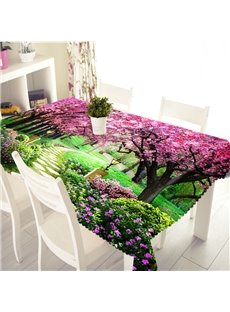 3D Romantic Cherry Avenue Printed Thick Polyester Table Cover Cloth