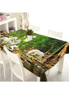 3D White Horses Wandering in the Rainforest Printed Thick Polyester Table Cover Cloth