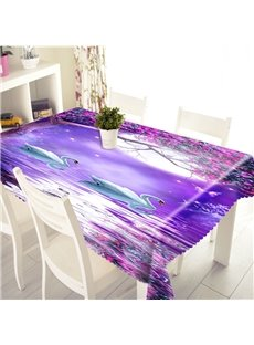 3D Two Swans Swimming in the Purple Lake Printed Thick Polyester Table Cover Cloth