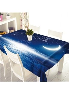 3D Galaxy and Sea Printed Thick Polyester Table Cover Cloth