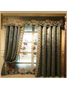 Retro and Noble Style High Quality Chenille Embroidered Flowers European Living Room and Bedroom Sheer Curtain