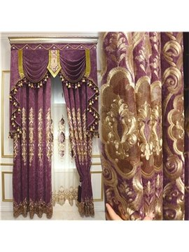 European Royal High Quality Soft Chenille Embroidered Flowers Decorative and Blackout Curtain for Living Room