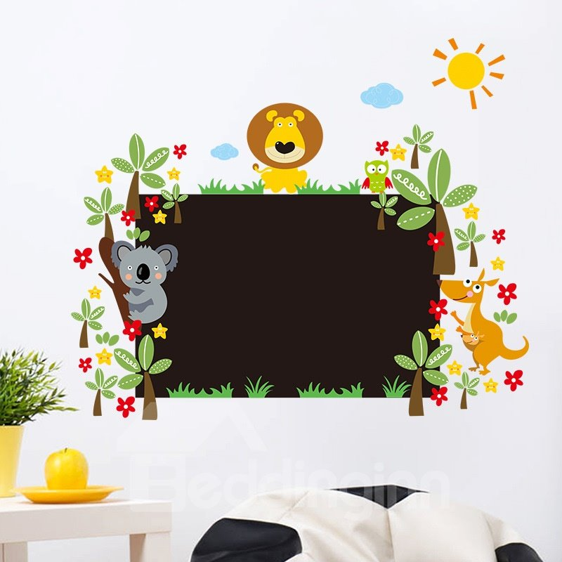 Lovely and Childlike Cartoon Animal with Tree Pattern Hand painted Bedroom Background Removable Wall Sticker