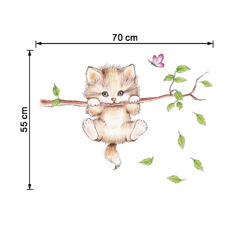 Lovely and Elegant Little Catty on Branch Pattern Bedroom / TV Background Stickers