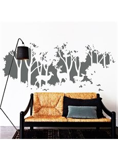 Simple and Elegant Forest with Deer Pattern Bedroom/TV Background Wall Stickers