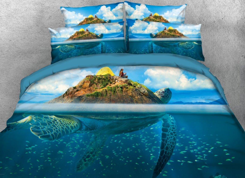 Vivilinen 3D Sea Turtle Island Blue Ocean Printed 4-Piece Bedding Sets/Duvet Covers