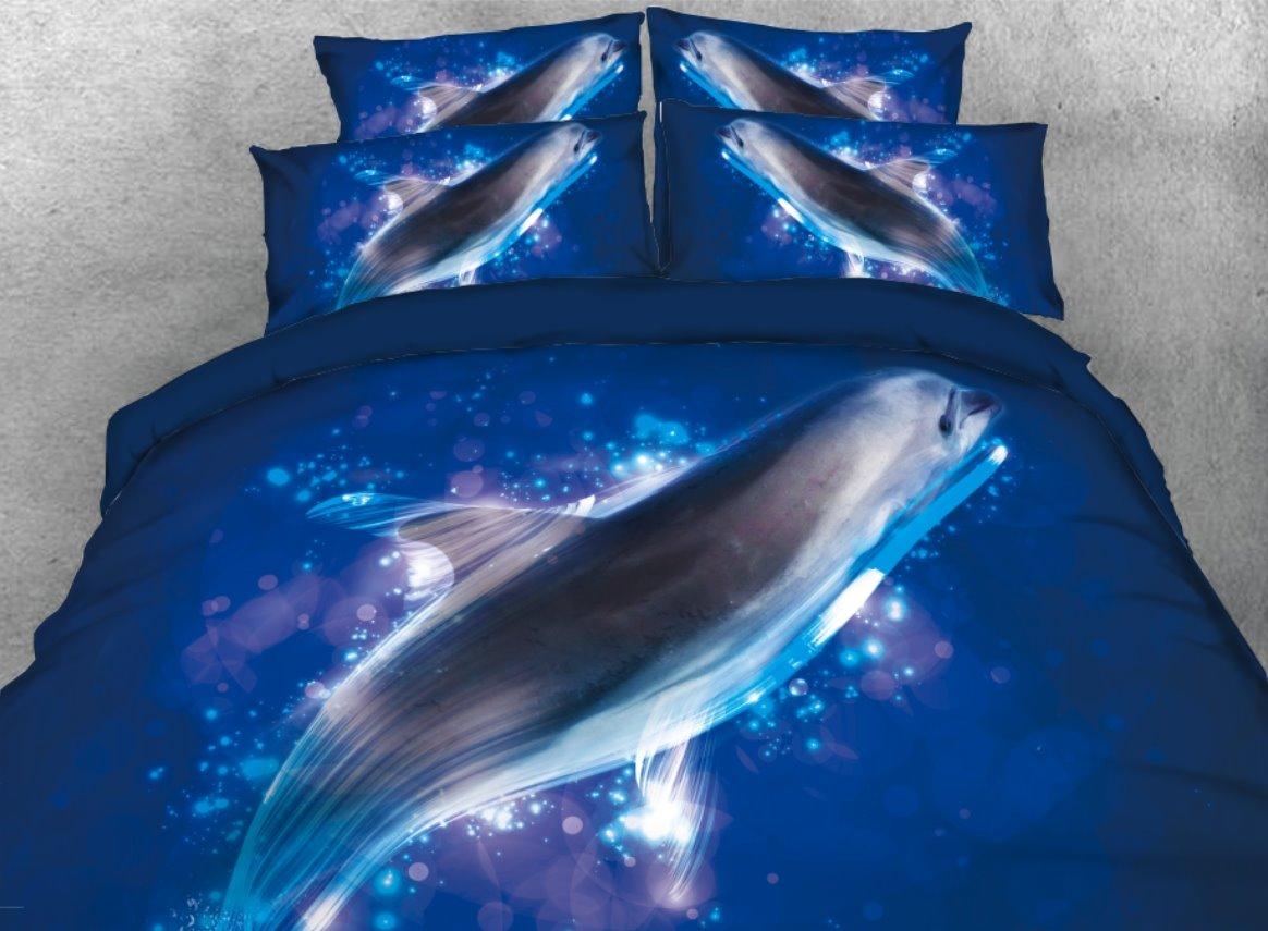 Vivilinen 3D Sea Lion in the Ocean Printed 4-Piece Bedding Sets/Duvet Covers