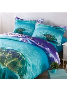 Turtle_in_The_Blue_shallow_Ocean_Style_3D_Printed_4Piece_Polyester_Bedding_SetsDuvet_Covers