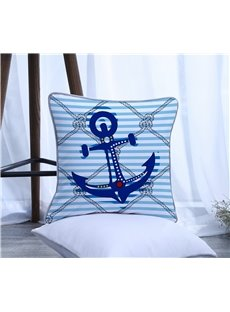 Boat Anchor with Blue Stripes Pattern Polyester One Piece Decorative Square Throw Pillowcase