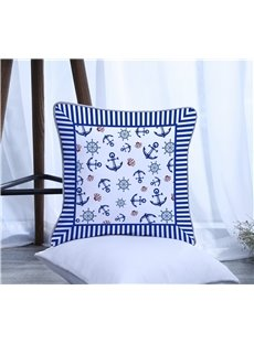 Boat Anchor with Stripes Pattern Polyester One Piece Decorative Square Throw Pillowcase