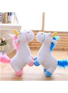 Pink and Blue Unicorn Shaped White Cotton Throw Pillow/Plush Toy