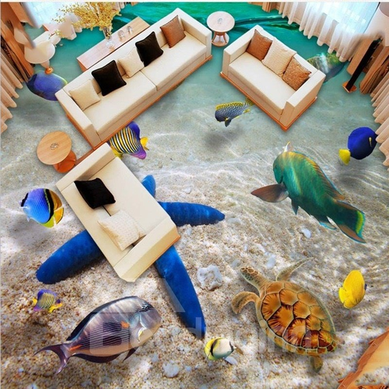 3D Ocean Starfish and Fishes Pattern Waterproof Nonslip Self-Adhesive Green Floor Art Murals