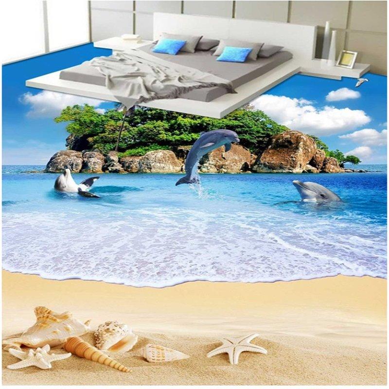3D Ocean Beach and Dolphins Pattern Waterproof Nonslip Self-Adhesive Blue Floor Art Murals