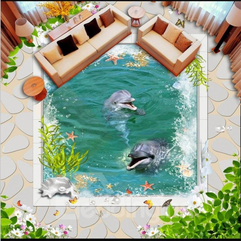 3D Green Leaf Ocean Water and Dolphins and Fishing Pattern Waterproof Nonslip Self-Adhesive Green Floor Art Murals