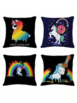Haters Gonna Hate Unicorn Rainbow Pattern Cotton Linen Blend Baby Square Throw Pillow