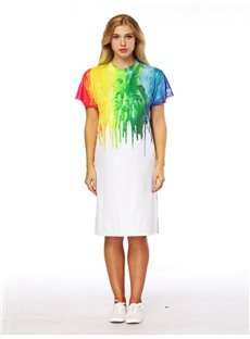 Colliding Color Style 3D Painted Short Sleeve Dress