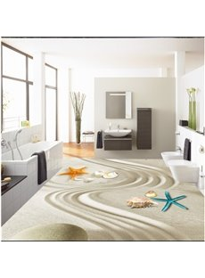 3D Sand and Starfish Pattern Waterproof Nonslip Self-Adhesive Beige Floor Art Murals
