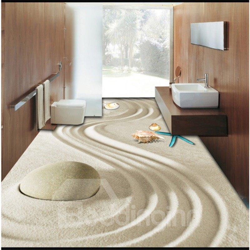 3D Sand and Starfish Pattern Waterproof Nonslip Self-Adhesive Beige Floor Art Murals