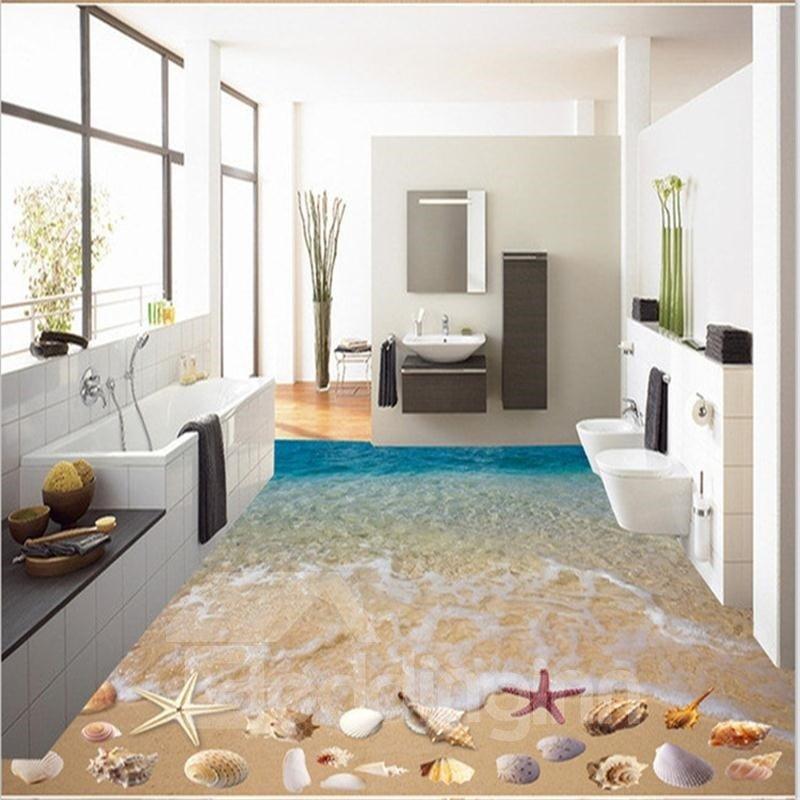 3D Seawater and Colorful Starfish Pattern Waterproof Nonslip Self-Adhesive Blue Floor Art Murals