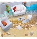 3D Dolphin In the Sea and Starshell Pattern Waterproof Nonslip Self-Adhesive Blue Floor Art Murals