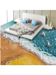 3D Two Dolphins By the Sea Pattern Waterproof Nonslip Self-Adhesive Floor Art Murals