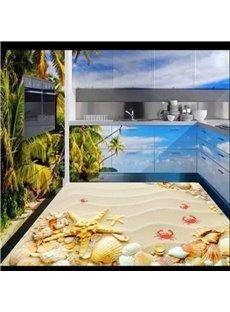 3D Sand and Seashells Pattern Waterproof Nonslip Self-Adhesive Yellow Floor Art Murals