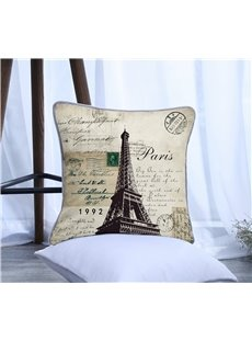 Eiffel Tower with Letters Pattern Polyester One Piece Decorative Square Throw Pillowcase