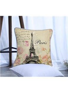 Paris Eiffel Tower Pattern Polyester One Piece Decorative Square Throw Pillowcase