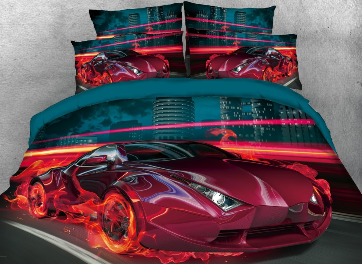 Onlwe 3D City Red Sports Car with Fire Printed 4-Piece Bedding Sets/Duvet Covers
