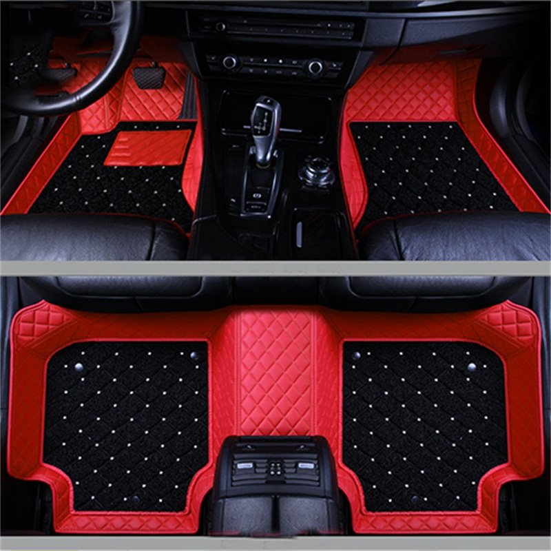 Image For Double Layer Fabric Grid Line Inlaid Diamonds Design Durable Custom Fit Car Floor Mats