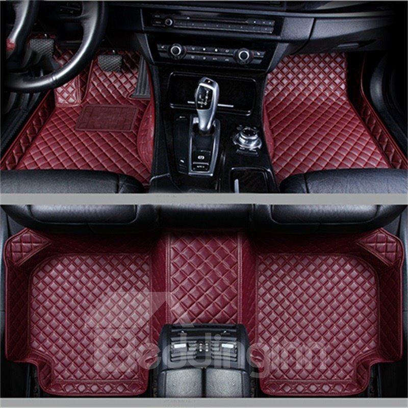 Leather Grid Line Design Coloured Fit Car Floor Mats Pic