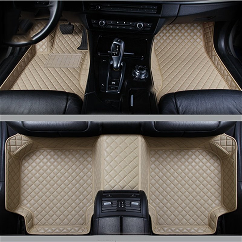Durable Leather Grid Line Design Bright-coloured Durable Custom Fit Car Floor Mats