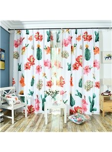 3D Plants and Flowers Pattern Custom Cotton and Linen Grommet Top Curtain with Sheer
