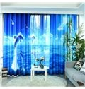 3D Dolphin Pattern Custom Cotton and Linen Blue Grommet Top Curtain with Sheer
